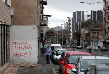 Graffiti reading 'Ratko Mladic - Hero' in Belgrade, Serbia. Aug. 25, 2020. Mladic is appealing his 2017 conviction for genocide and crimes against humanity during the 1992-95 Bosnian War