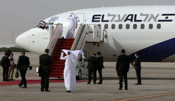 El Al's airliner carrying Israeli and U.S. delegates at Abu Dhabi International Airport, in Abu Dhabi, United Arab Emirates, August 31, 2020.
