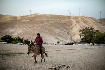 Khan al-Ahmar, home to about 180 Bedouins from the Jahalin tribe, in the occupied West Bank, May 2020.