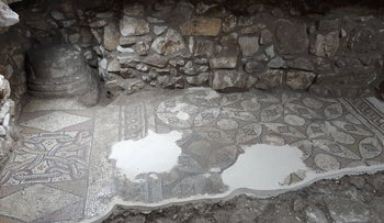 The mosaic of the nave and part of the aisle, beneath the home of Eliyya and Samya Arraf
