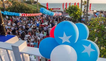 Independence Day party at the U.S. ambassador's home overlooking the Mediterranean, Herzliya Pituah, July 2015.