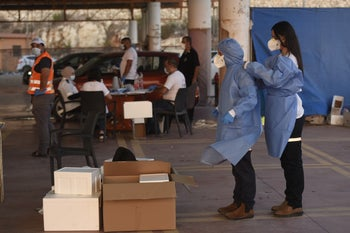 A coronavirus testing station in the Israeli Arab town of  Umm al-Fahm.