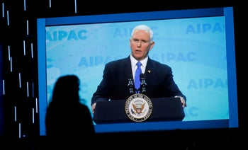 U.S. Vice President Mike Pence speaking at the AIPAC Policy Conference in Washington, March 2019.
