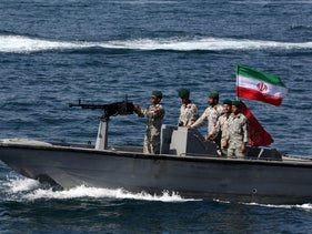 "File photo: Iranian soldiers take part in the ""National Persian Gulf day""  in the Strait of Hormuz, April 30, 2019."