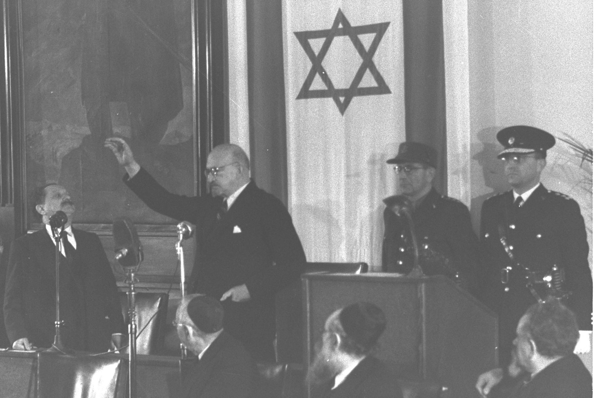 The first president of Israel Chaim Weizmann takes the oath of office in the Jewish Agency building in Jerusalem, February 17, 1949.