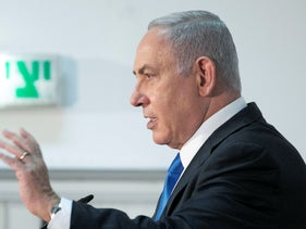Benjamin Netanyahu speaks to the press on September 7, 2020.