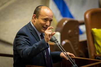 Naftali Bennett speaking at the Knesset, August 2020.