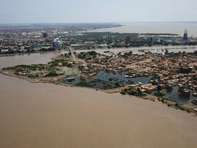 An aerial view shows buildings and roads submerged by floodwaters near the Nile River in South Khartoum, Sudan, September 8, 2020.
