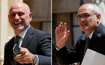 Lebanese Public Works and Transportation Minister Youssef Fenianos, left, and Lebanese former Finance Minister Ali Hassan Khalil, right.