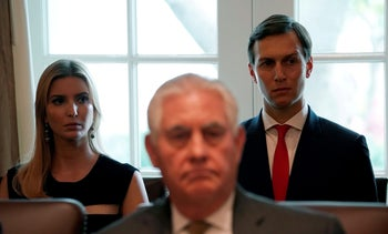 Ivanka Trump and Jared Kushner sit behind Secretary of State Rex Tillerson as U.S. President Donald Trump holds a cabinet meeting at the White House in Washington, October 16, 2017.