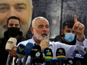 Hamas Political Bureau Chief Ismail Haniyeh speaks during his visit at Ain al-Hilweh Palestinian refugee camp in Sidon, Lebanon September 6, 2020.
