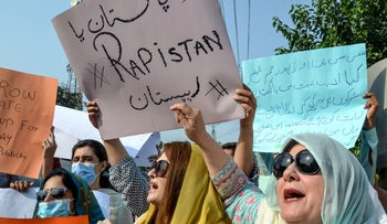 People march during a protest against an alleged gang rape of a woman, in Peshawar, Pakistan on September 12, 2020