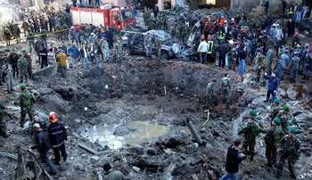 The massive crater after the Feb 14th, 2005 bomb attack on the motorcade of former Prime Minister Rafik Hariri in Beirut, Lebanon. A U.N.-backed tribunal just found a Hezbollah supporter guilty of involvement in his assassination.