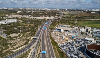 An aerial view shows Israel's empty roads during the lockdown imposed ahead of Passover eve, April 8, 2020.
