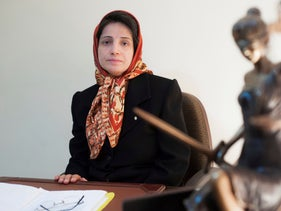 Lawyer and human rights activist Nasrin Sotoudeh in her office in Tehran in 2008.