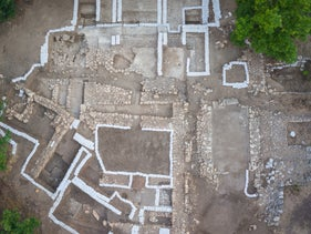 Aerial view of the Canaanite palace at Tel Kabri