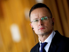 Hungarian Foreign Minister Peter Szijjarto attends a news conference at the Itamaraty Palace in Brasilia, Brazil, October 8, 2019.