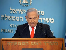 Netanyahu attends a briefing on the coronavirus disease (COVID-19) development in Israel at his office in Jerusalem September 13, 2020.
