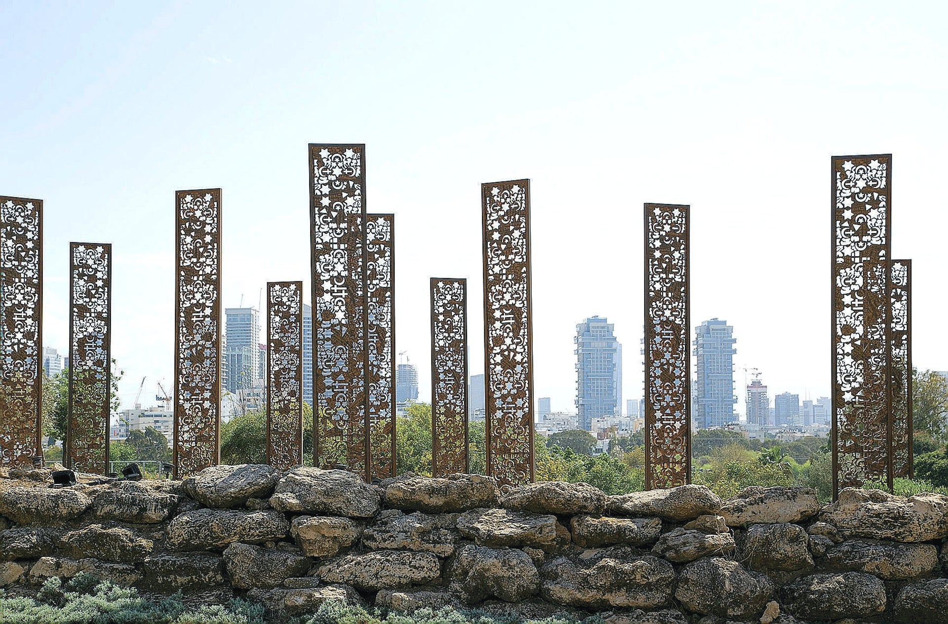 """""""Skyline"""" of cork towers sculpted by Avner Sher at the Tel Aviv Crafts and Design Bienalle 2000 at the Eretz Israel Museum."""