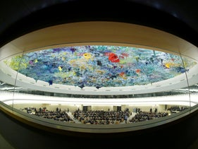 Overview of the session of the Human Rights Council during the speech of UN High Commissioner for Human Rights Michelle Bachelet at the United Nations in Geneva, February 27, 2020.