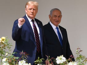 Donald Trump and Benjamin Netanyahu before participating in the signing of the Abraham Accords, the White House in Washington, D.C., September 15, 2020.