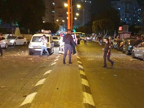 A street in Ashdod where a rocket launched from the Gaza Strip fell, September 15, 2020