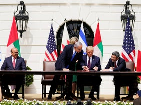 From left, Bahrain FM, Israeli PM, U.S. President, and UAE FM sign the Abraham Accords, Washington, DC, September 15, 2020.