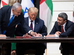 Israeli Prime Minister Benjamin Netanyahu(L), U.S. President Donald Trump, and UAE Foreign Minister Abdullah bin Zayed Al-Nahyan (R) smile at the White House in Washington, D.C., September 15, 2020.