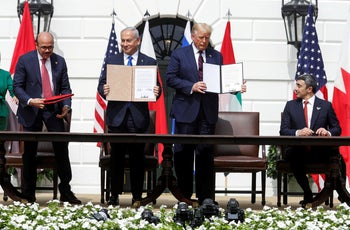 Trump and the representatives from Bahrain, Israel, and the United Arab Emirates during the Abraham Accords signing ceremony in Washington, on Tuesday, September 15, 2020.