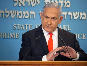 Netanyahu attends a briefing on the coronavirus at his office in Jerusalem, September 13, 2020.