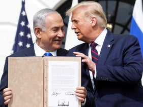 Israeli Prime Minister Benjamin Netanyahu and President Donald Trump after signing the Abraham Accords on the South Lawn of the White House. Sept. 15, 2020