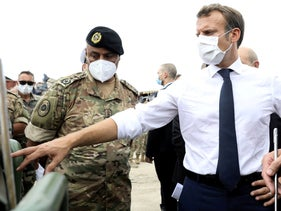 French President Emmanuel Macron meets members of the military mobilized for the reconstruction of the port of Beirut, Lebanon, September 1, 2020.