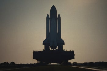 "The space shuttle Challenger on the launch pad in Netflix's ""Challenger: The Final Flight."""