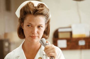 "Louise Fletcher as Nurse Ratched in ""One Flew Over the Cuckoo's Nest."" Evil or misunderstood? The ""devil's horns"" hairstyle suggests the former."