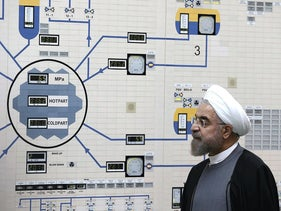 Jan. 13, 2015, file photo released by the Iranian President's Office, President Hassan Rouhani visits the Bushehr nuclear power plant