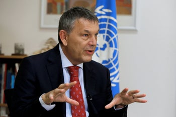 The Commissioner-General of the UN agency for Palestinian refugees Philippe Lazzarini, speaks at the U.N. relief agency, UNRWA, headquarters in Beirut, Lebanon, Wednesday, September 16, 2020.