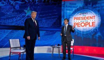President Donald Trump talks with ABC News anchor George Stephanopoulos before a town hall at National Constitution Center, Tuesday, Sept. 15, 2020, in Philadelphia