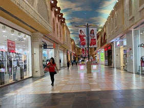 A woman walks in an almost empty mall amid the outbreak of coronavirus in Dubai.