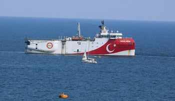 Turkey's research vessel, Oruc Reis anchored off the coast of the Turkish coastal city Antalya, September 13, 2020