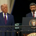 United Arab Emirates Minister of Foreign Affairs Sheikh Abdullah bin Zayed bin Sultan Al Nahyan speaks at the White House as rocket alarms in Israel flash across the screen