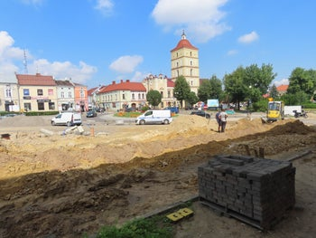 The site of the market square in Lezajsk, Poland, where the tombstones were found.