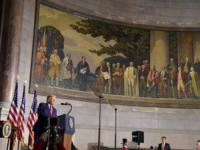 U.S President Donald Trump speaks at the White House Conference on American History at the National Archives Museum in Washington, U.S., September 17, 2020