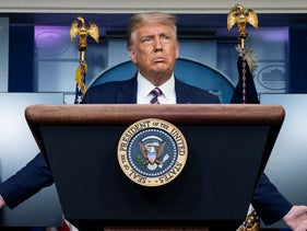 U.S. President Donald Trump at a White House press briefing, September 18, 2020.