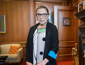 In this July 31, 2014, file photo, Associate Justice Ruth Bader Ginsburg is seen in her chambers in at the Supreme Court in Washington.