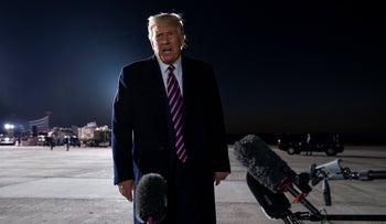 President Donald Trump talks to reporters about the death of Supreme Court Justice Ruth Bader Ginsburg, after a campaign rally, Sept. 18, 2020, in Bemidji, Minn.
