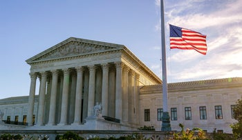 The flag flies at half-staff at the U.S. Supreme Court in Washington, D.C. on September 20, 2020, the morning after the death of Justice Ruth Bader Ginsburg