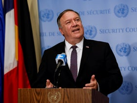 Secretary of State Mike Pompeo speaks to reporters following a meeting with members of the UN Security Council, August 20, 2020.
