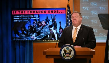U.S. Secretary of State Mike Pompeo gives a news conference about dealings with China and Iran, in Washington, U.S., June 24, 2020.