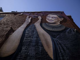 A mural of Supreme Court Justice Ruth Bader Ginsburg that was painted on the side of a building on U Street Northwest in Washington, DC, September 20, 2020.