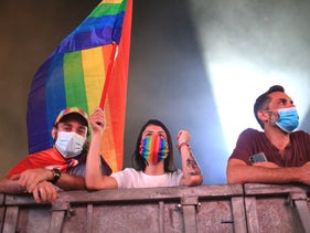 LGBTQ Pride rally in Tel Aviv's Rabin Square, September 17, 2020.